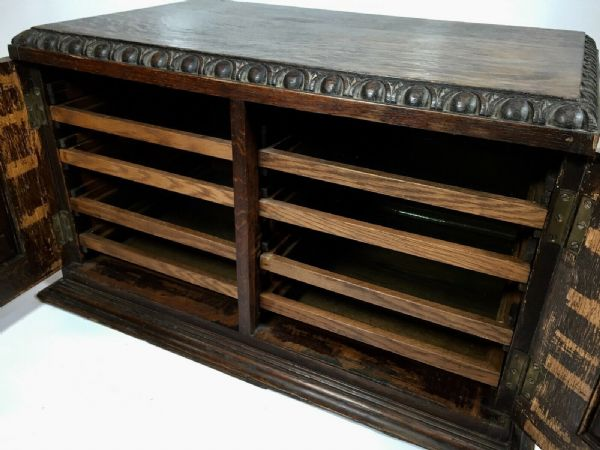 Antique Dark Oak Large Wooden Collectors Chest / Cabinet / Coins / Curios 1930's